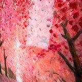 Canvas schilderij 'kersen boulevard' handgeschilderd_