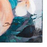 Canvas schilderij 'grote bloemen' handgeschilderd_
