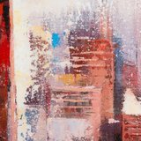 Canvas schilderij 'skyline' handgeschilderd_