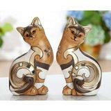 zittende  katten  bruin  goud_