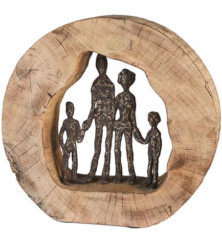 Mangohout sculptuur 'Familie'