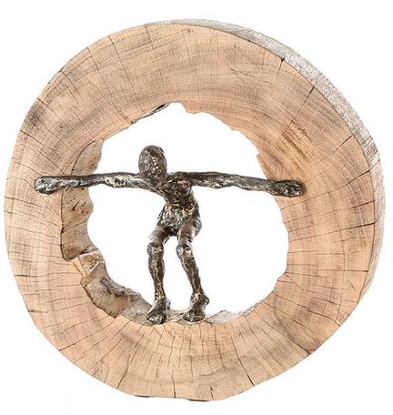 Mangohout sculptuur 'Sprong'