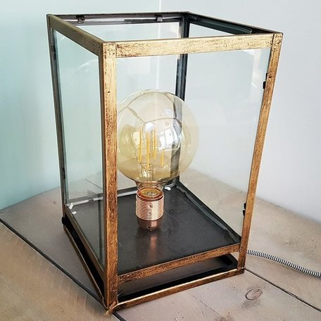 inumo tafellamp lantaarn brons vierkant