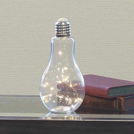 Decoratie lamp glas 22 cm hoog met LED's