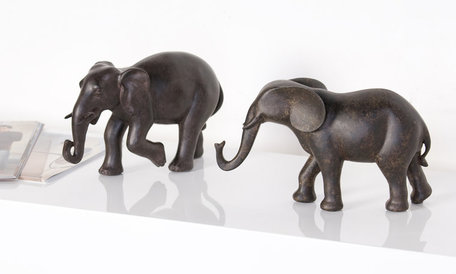 Design sculptuur olifant 16cm hoog 2 stuks