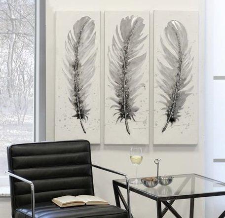 schilderij veer 90cm hoog