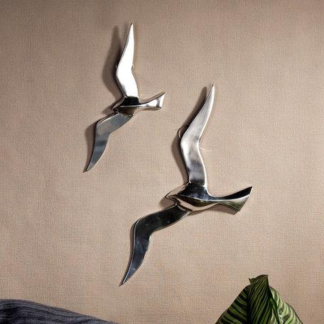 wandobject vogels aluminium gepolijst 2 stuks