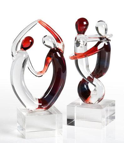 sculptuur dansen glas 2 stuks