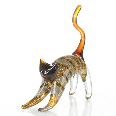 sculptuur kat glas 28cm hoog