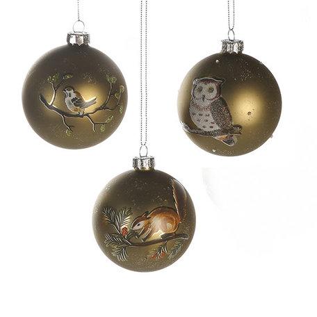 Kerstballen bosdieren set van 3 stuks