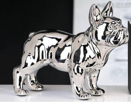 decoratie franse bulldog zilver