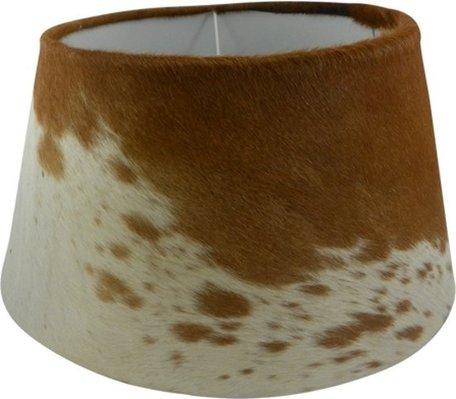 Lampenkap koeienleer donkerbruin/wit