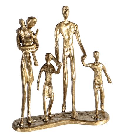 Sculptuur 'Familie' goudkleurig