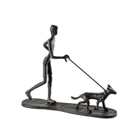 Sculptuur man en hond