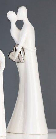sculptuur kussend paar met zilveren hart
