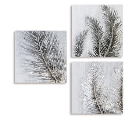 Canvas 'Bladeren' wit grijs zilverkleurig 60x60cm