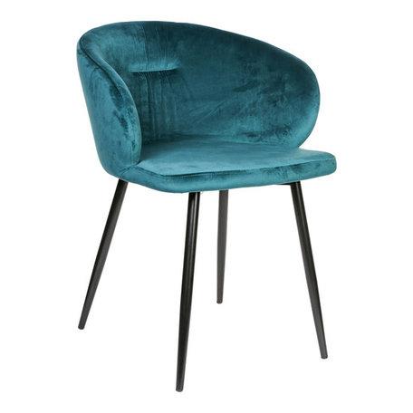 PTMD Move velvet teal stoel metalen poten