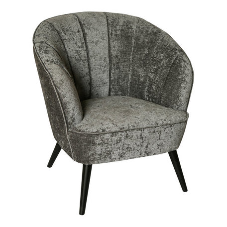 PTMD Hanna luxury grey velvet chair black wood