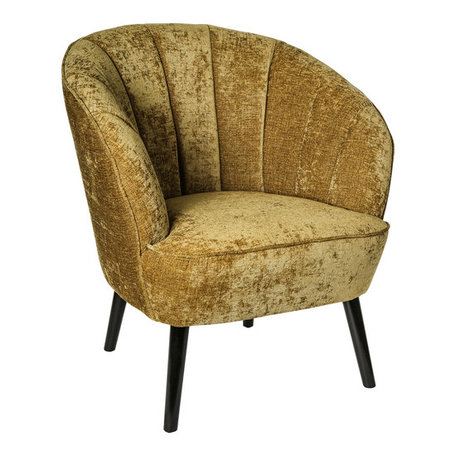 PTMD Hanna luxury mustard velvet chair black wood