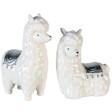 Set van 2 Alpaca beeldjes porselein