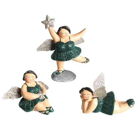 Set van 3 stuks engel beeldjes groen