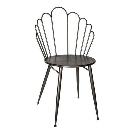 PTMD Shelby seat shell shaped black Iron chair