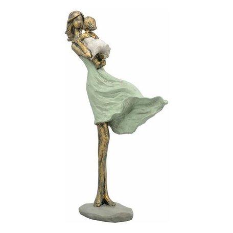 Sculptuur moeder met kind groen