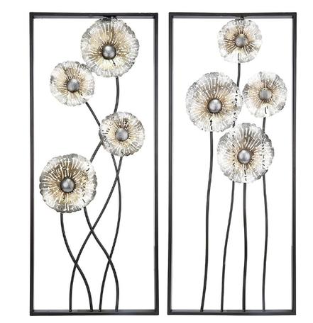 Wanddecoratie metaal bloem set van 2 stuks