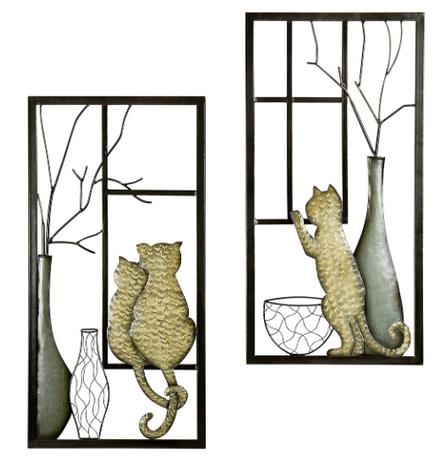 Wanddecoratie metaal kat set van 2 stuks