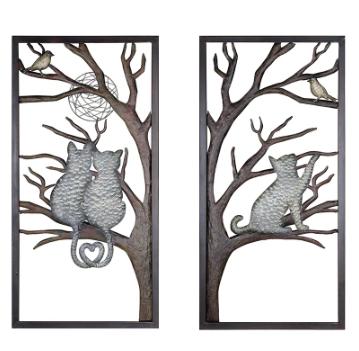 Wanddecoratie metaal kat in boom set van 2 stuks