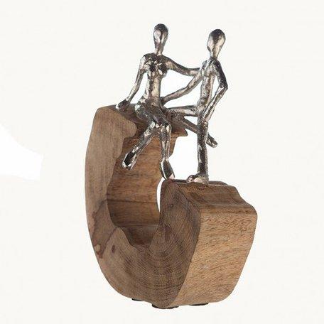 Mangohout sculptuur 'Overleg'