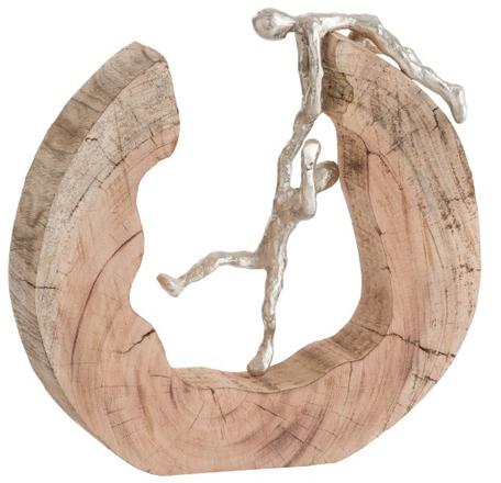 Mangohout sculptuur 'Hulp' zilverkleurig