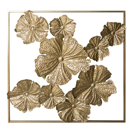 Wanddecoratie metaal goudkleurig bloemen