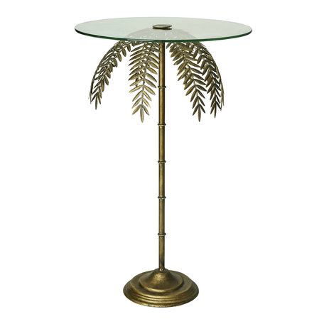 PTMD Bryz Gold metal glass top sidetable fern round