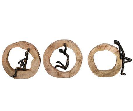 Mangohout sculptuur set van 3 stuks
