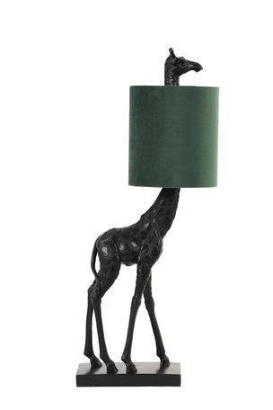Tafellamp 26x16x61 cm GIRAFFE zwart+velvet donker groen