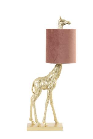 Tafellamp 26x16x61 cm GIRAFFE goud+velvet oud roze