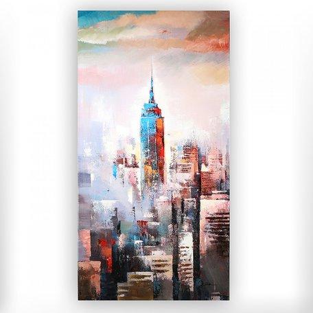 Canvas schilderij 'skyline' handgeschilderd