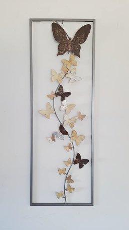 Wanddecoratie metaal vlinders 90cm