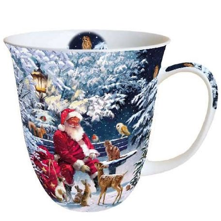 Beker porselein 0.4 L Santa On Bench Kerstman