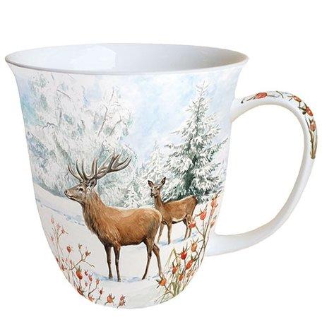 Beker porselein 0.4 L Deer In Snow Hert sneeuw