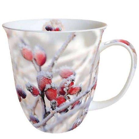 Beker porselein 0.4 L Frozen Rosehips Kerst