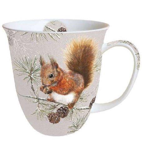 Beker porselein 0.4 L Squirrel In Winter Eekhoorn