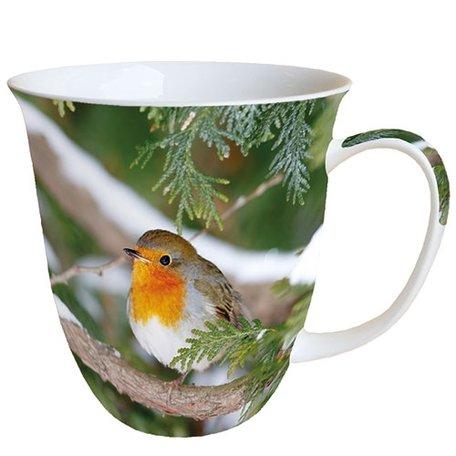 Beker porselein 0.4 L Robin In Tree Roodborstje