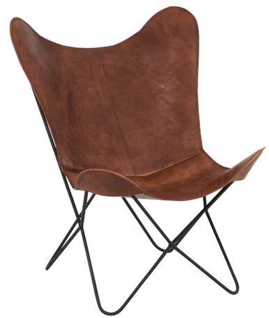 Lounge Stoel Leder/Metaal Cognac