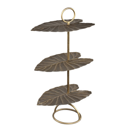 PTMD Salient Gold iron etagere 3 store leaf