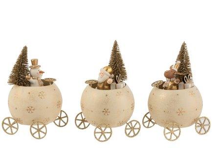 Rendier/Kerstman/Sneeuwman In Bol Auto Metaal Zilver/Zwart
