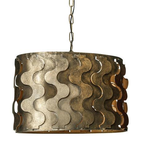 PTMD Zyla Messing hanglamp metaal geweven patroon