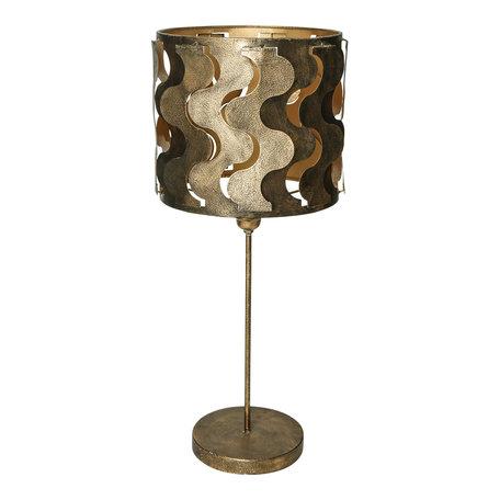 PTMD Zyla Messing metalen tafellamp geweven patroon