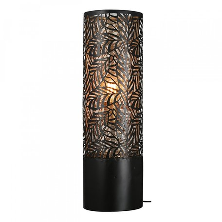 Metalen vloerlamp zwart bladdesign 63cm